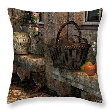 In The Courtyard Throw Pillow by Jutta Maria Pusl
