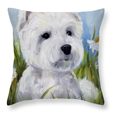 In The Daisies Throw Pillow by Mary Sparrow