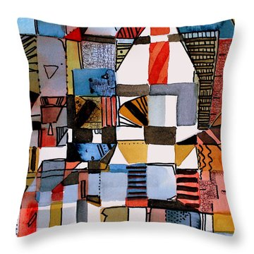 In The Dog House Throw Pillow by Mindy Newman