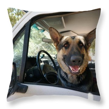 In The Driver's Seat  Throw Pillow