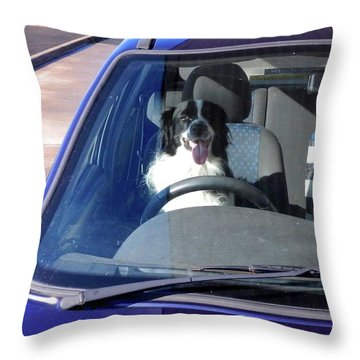 In The Driving Seat Throw Pillow by Nik Watt