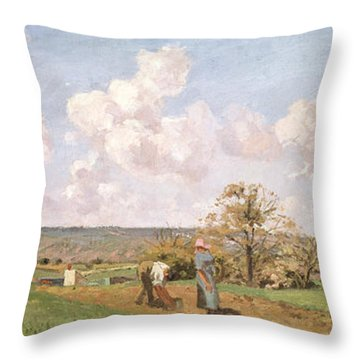 In The Fields Throw Pillow by Camille Pissarro