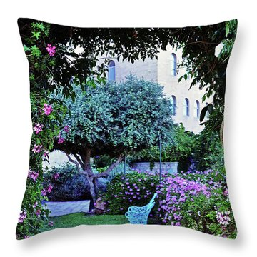 In The Garden At Mount Zion Hotel  Throw Pillow