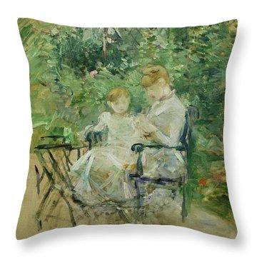 In The Garden Throw Pillow by Berthe Morisot