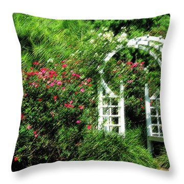 In The Garden Throw Pillow by Carolyn Marshall