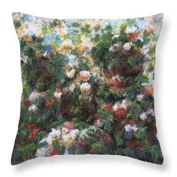 Throw Pillow featuring the painting In The Garden by Laila Awad Jamaleldin