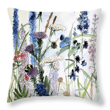 Throw Pillow featuring the painting In The Garden by Laurie Rohner