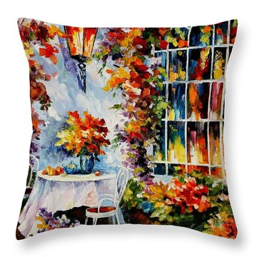 In The Garden Throw Pillow by Leonid Afremov