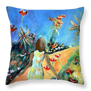 In The Garden Of Joy Throw Pillow