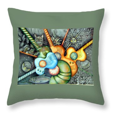 Throw Pillow featuring the drawing In The Key I See by Linda Shackelford