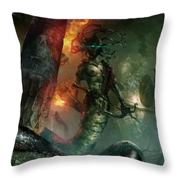 In The Lair Of The Gorgon Throw Pillow
