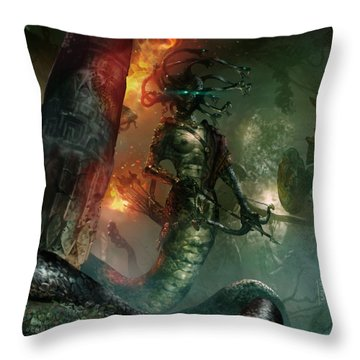 In The Lair Of The Gorgon Throw Pillow by Ryan Barger