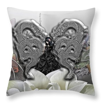 In The Land Of The Dragons Throw Pillow by Mo T