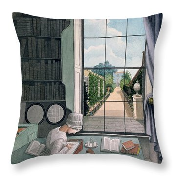 In The Library, St. James' Square Throw Pillow