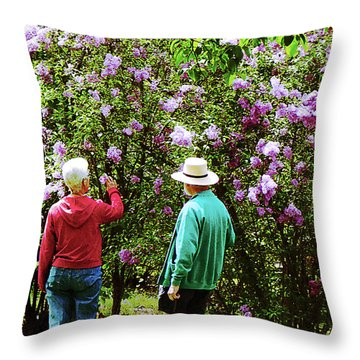 In The Lilac Garden Throw Pillow by Susan Savad