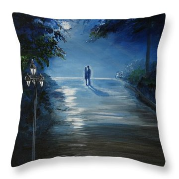 In The Loving Moonlight Throw Pillow by Leslie Allen