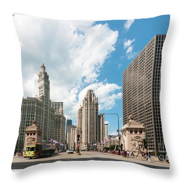 In The Middle Of Wacker And Michigan Throw Pillow