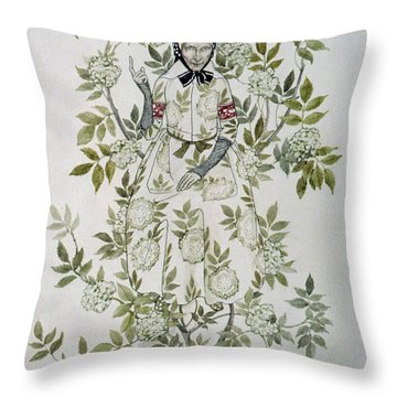 In The Midst Of A Tree Sat A Kindly Looking Old Woman' Throw Pillow by Arthur Rackham