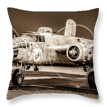 In The Mood - B-25 II Throw Pillow by Steven Reed