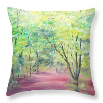Throw Pillow featuring the painting In The Park by Elizabeth Lock