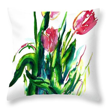 In The Pink Tulips Throw Pillow