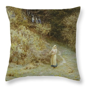 In The Primrose Wood Throw Pillow by Helen Allingham