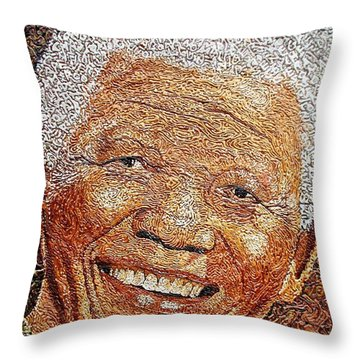 Nelson Mandela - In The Pyramid Of Our Minds Throw Pillow