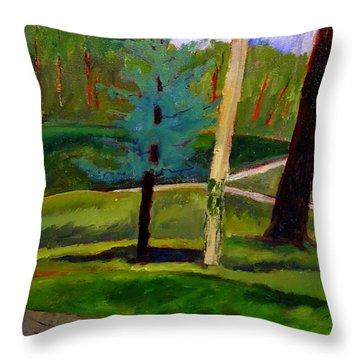 In The Rough Blue Spruce Plein Air Throw Pillow by Charlie Spear