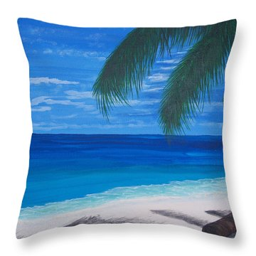In The Shade Of A Palm Throw Pillow by Nancy Nuce
