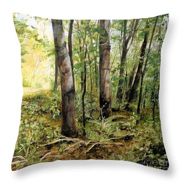 Throw Pillow featuring the painting In The Shaded Forest  by Laurie Rohner