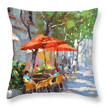 In The Shadow Of Cafe Throw Pillow