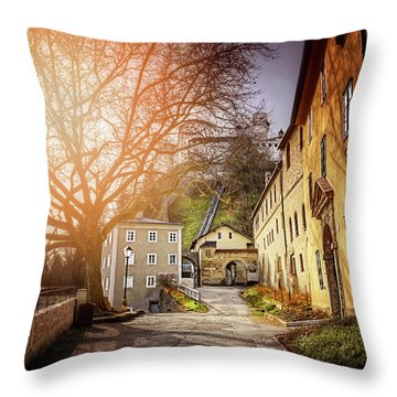 Throw Pillow featuring the photograph In The Shadow Of Salzburg Castle  by Carol Japp
