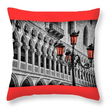 Throw Pillow featuring the photograph In The Shadow Of The Doges Palace Venice by Carol Japp