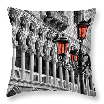In The Shadow Of The Doges Palace Venice Throw Pillow