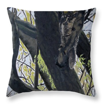 In The Shadow-ojibway Great Horn Owl Throw Pillow