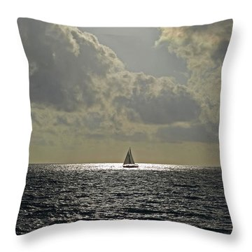 In The Spotlight. Sailboat Sailing In Naples Fl Throw Pillow