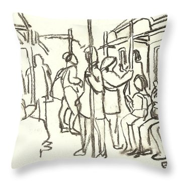 In The Subway, Nyc Throw Pillow