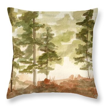 In The Trees Throw Pillow by Jackie Mueller-Jones