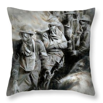 Throw Pillow featuring the digital art In The Trenches by Pennie  McCracken