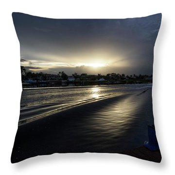 Throw Pillow featuring the photograph In The Wake Zone by Laura Fasulo