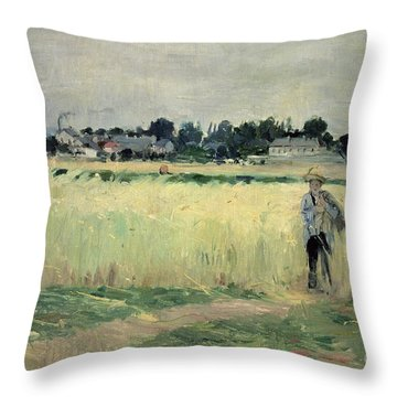 In The Wheatfield At Gennevilliers Throw Pillow by Berthe Morisot