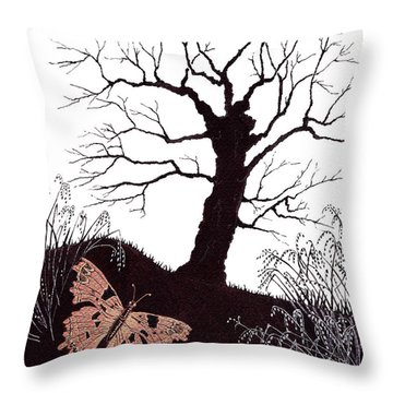 Throw Pillow featuring the painting In The Winter Woods by Stanza Widen