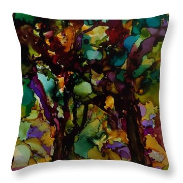 In The Woods Throw Pillow by Alika Kumar