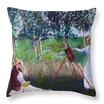In The Woods At Giverny Throw Pillow by Luis F Rodriguez