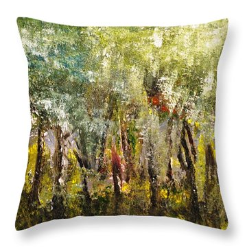 Throw Pillow featuring the painting In The Woods by Evelina Popilian