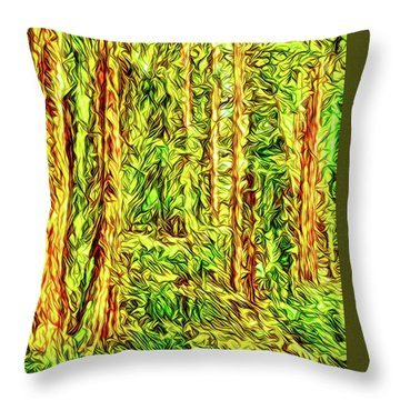 Throw Pillow featuring the digital art In The Woods - Forest Trees Vashon Island Washington by Joel Bruce Wallach