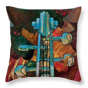 In Tune - String Instrument Scroll In Blue Throw Pillow by Susanne Clark