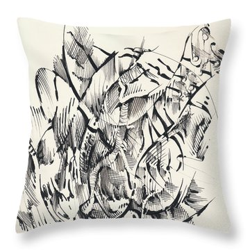 Throw Pillow featuring the drawing In Vain by Keith A Link