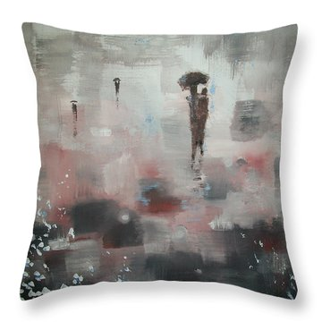In With The Crowd Throw Pillow by Raymond Doward