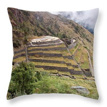 Inca Ruins And Terraces Throw Pillow by Aivar Mikko
